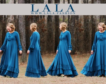 LillyAnnaKids Ladies KENDRA Circle Ruffle Dress Lala Modest