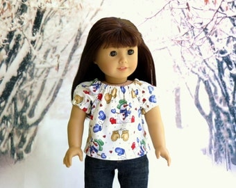 Snowman Peasant Top, 18 inch Doll Clothes Mittens Snowmen Top, Girl Doll Shirt