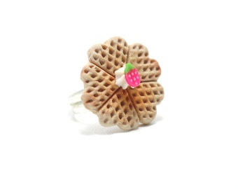 Belgium Heart Waffle Ring, Miniature Food Jewelry, Polymer Clay Food Jewelry