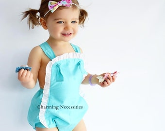 Baby Girl Clothes, Toddler Girl Clothes, Sunsuit Bubble Romper  Spring Summer Beach Baby by Charming Necessities - 16 Fabric Options