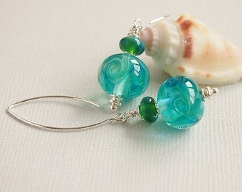Sea Blue Green Lampwork Earrings, Blue Green Turquoise Beaded Earrings, Sterling Silver Earrings - MERMAID