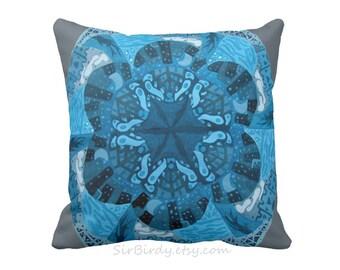 Fantasy custom toss pillow square pillow 16x16 pillow white original artwork moon castles buildings trees ocean waves geometric shapes