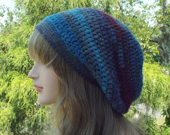 Purple and Blue Slouchy Beanie, Womens Crochet Hat, Slouch Beanie, Oversized Hipster Hat, Slouch Hat, Baggy Beanie, Boho Slouchy Hat