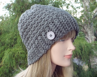 Womens Beanie, Slate Gray Crochet Hat, Winter Hat with Button, Gray Ski Hat, Textured Hat, Winter Accessories