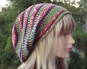 Slouchy Beanie, Womens Crochet Hat, Northern Lights Multicolor Slouch Beanie, Hipster Hat, Oversized Slouch Hat, Baggy Beanie, Slouchy Hat