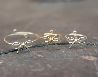 Adjustable, Bow, Ring, Gift for Mom, Sterling Silver, Gold Filled, Gold, Wire, Gold bow, Gifts under 20, Gift for a daughter