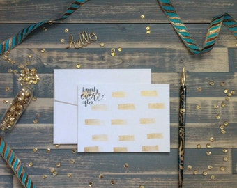 Gold Painted Stationery | Gold Stationary | Happily Ever After Card | Watercolor Stationery | Wedding Stationery | Stationary Set