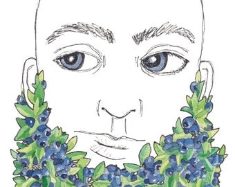 Blueberry Beard Art Cool Beard Gift Cool Gift for Him Blueberries Gift for Beard Lover Bearded Man Art Fruit Print Bluebeard Print