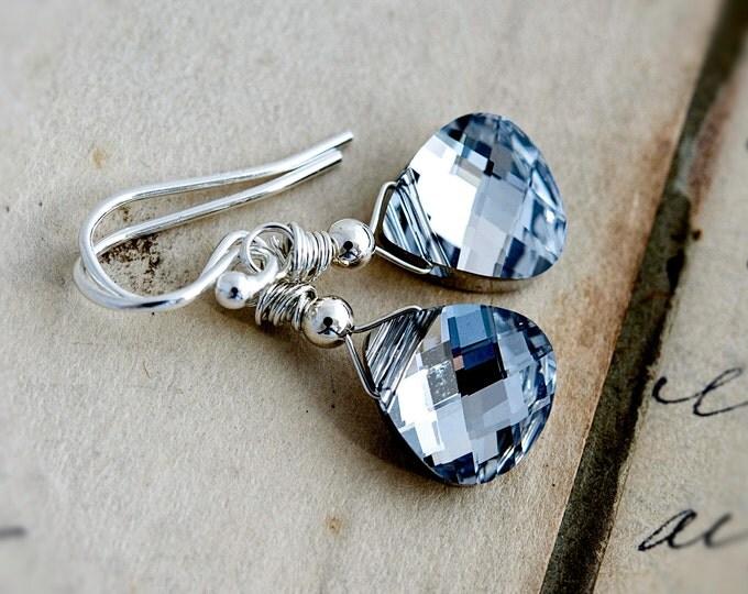 Crystal Earrings, Drop Earrings, Dangle Earrings, Wire Wrapped, Silver Crystal, Swarovski Crystal, Metallic Earrings, Modern Earrings