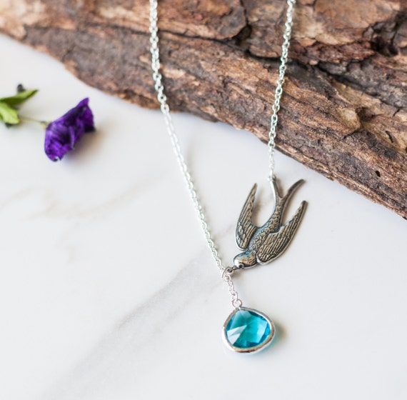 Silver sparrow lariet blue | aqua glass | necklace | Handmade | sophisticated | unique |nature-inspired bird| pendant | crystal | Santa Cruz