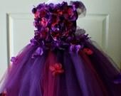 Flower Girl Dress, Tutu Dress, Photo Prop, in Purple and Dark Red, Flower Top, Tutu Dress