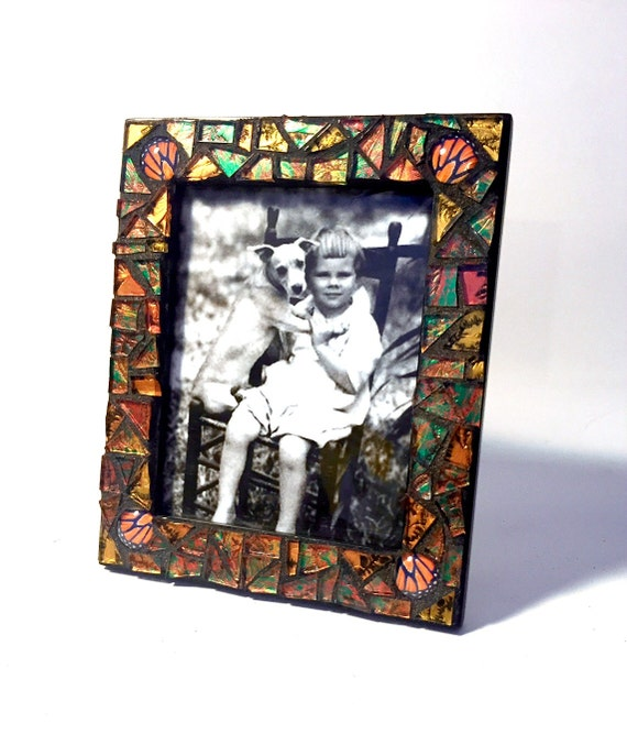 Copper Gold Monarch Butterfly Mosaic Picture Frame, Monarch Wing Cut Glass Frame, Iridescent Van Gogh Glass Frame, 3.5 x 5 Photo Frame,