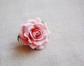 Blush Pink Sweetheart Rose Millinery flower Brooch Pin- wedding corsage boutonniere, paper jewelry, decoration, embellishment