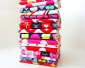 5 or 10 Valentine Cloth Napkins - Kids Valentines Napkins - Childrens Lunch Box Napkins - Reusable Paper Towels - 9 x 10