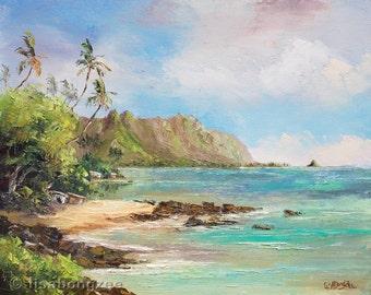 KANEOHE BAY SHACK Original 8x10 Palette Knife Oil Painting Art Koolau Tiki Hut Palm Tree Hawaii Hawaiian Island Tropics Ocean Vintage Bygone