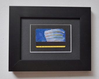 ART Original Oil Painting NYC Guggenheim Museum Night Upcycled Subway Card Framed