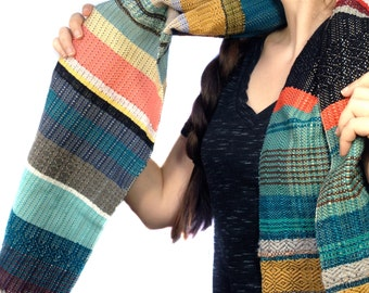 Montauk | Woven Luxury Heirloom Scarf | Handwoven Blue Striped Scarf | Woven Ladies Fashion | Warm and Cozy Statement Gifts for Women | H61