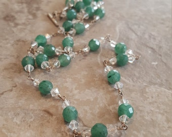 "Aventurine (Faceted) & Swarovski Crystal Linked with Sterling Silver and Toggle Clasp 18.5"" *Clearance* - Free Shipping"