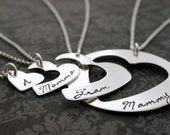 Mother's Day Personalized Four Generation Necklace Set - Hand Cut Hearts Design in Sterling Silver by Eclectic Wendy Designs