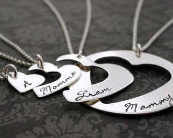 Personalized Four Generation Necklace Set - Hand Cut Hearts Design in Sterling Silver by Eclectic Wendy Designs