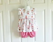 "Girls ""Piper"" Flutter Sleeve Top Bloomer Shorts Set - 6 mos to size 6 - High as a Kite Collection red black white - patriotic"