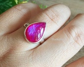 Pink Rainbow Moonstone Ring - Cabochon ring - Bezel ring - Gemstone ring - Valentines Gift for her