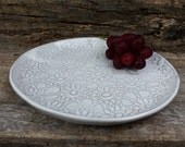 White lace serving plate