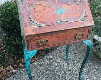Painted Desk - Vintage Desk - Bohemian Desk- Antique Writing Desk - Vintage Secretary Desk - Painted Desk - Rustic Desk - Vintage Side Table
