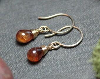Hessonite Garnet Earrings Gold Wire Wrapped Earrings Burnt Orange Earrings Rustic Jewelry