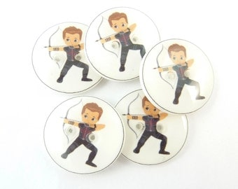 "5 Archer Super Hero Buttons. 3/4"" or 20 mm.  Superhero Buttons for Sewing, knitting or crochet. Buttons for Boys."