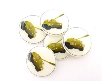 """5 Tank Buttons.  Military or Army  Buttons. Handmade Sewing Buttons.  3/4"""" or 20 mm."""
