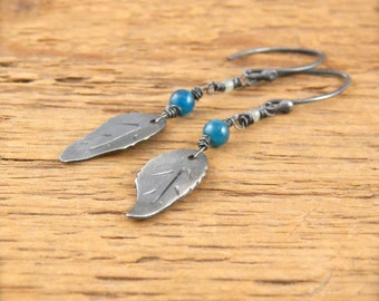 Leaf earrings, sterling silver hand-cut leaves, Ready To Ship! Blue apatite and green aventurine genuine stone.