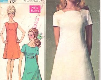 Simplicity 7717 1960s Misses Mod DRESS Pattern Seam Interest Shaped Neck Womens Vintage Sewing Pattern UNCuT Size 12 Bust 34 NO ENVELOPE