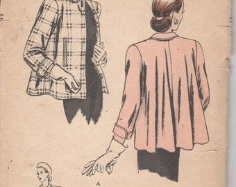 Vogue 6063  1940s Misses Swing Coat Pattern Short Flared Jacket  Womens Vintage Sewing Pattern Size 14 Bust 32