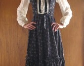 GUNNE SAX calico corset dress with sheer swiss dot sleeves milkmaid, xs - small