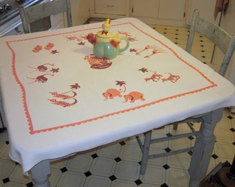 Vintage Noah's Ark Tablecloth Animals Marching Two-by-Two