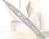 SALE! Beautiful Rhinestone Bridal Belt Sash or Headband - White Ivory Silver Satin Ribbon - Crystal Wedding Dress Belt - Standard Length