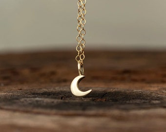 Gold Moon Necklace 14k solid Gold Tiny Crescent Moon Pendant Gift for Her to the moon and back birthday Gift bridal Dainty necklace lunar