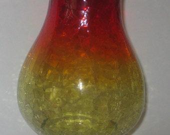 """Amberina Crackle Glass Vase Large 8"""" Ruffled Edge Vintage Retro Orange Yellow Red"""