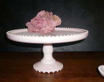 Vintage Wedding Cake Plate Stand Pink Milk Glass Cake Footed Cake Plate