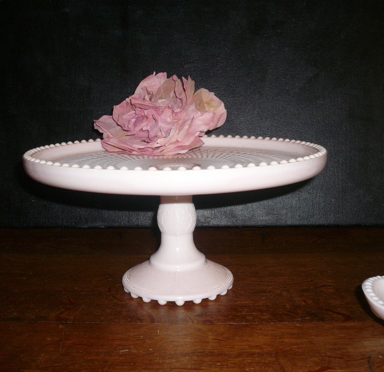 Vintage Wedding Cake Plate Stand Pink Milk Glass Cake Footed