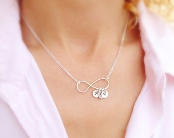 Personalized Infinity necklace, mothers day gift, mothers necklace, mother of the bride gift, sisters necklace, best friends, friendship