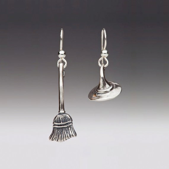Halloween Earrings Witch Earrings Silver Witch's Hat and Broom Stick Earrings Halloween Charms Halloween Jewelry Witch Jewelry Silly Earring