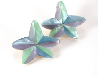 Star Earrings  - Starfish Earrings -Lucite  Mop Mother of Pearl Earrings - Lavender Baby Blue Green Summer Fun Nautical Vintage Jewelry