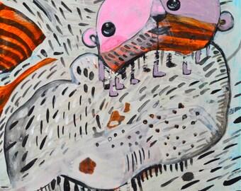 OOAK Original Caveman Hugs Painting on Aquabord