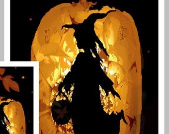 Halloween Card, Halloween greeting card,  Happy halloween,  Witch Card ,  Goth