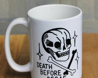 "Skull and crossbones ""Death before Decaf"" coffee mug! 15 ounce ceramic mug with skull tattoo style design!"