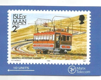 Vintage SNAFFELL Mountain Railway- ISLE of MAN Phonecard 1988 - Mint Collector Manx Telecom - 2P -10 Units - with apart history description