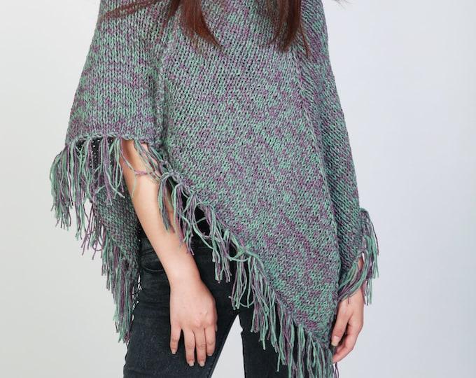 Hand Knit poncho Green/fushia mixed color shrug fringe capelet LMD