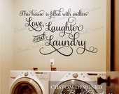 Love Laughter and Laundry Wall Decal - Wall Decal - Wall Quotes - Laundry Room Wall Decor - Vinyl Lettering - Home Wall Decal 110